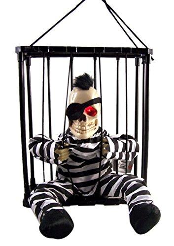 Animated Skeleton Prisoner in Hanging Cage Halloween Decoration