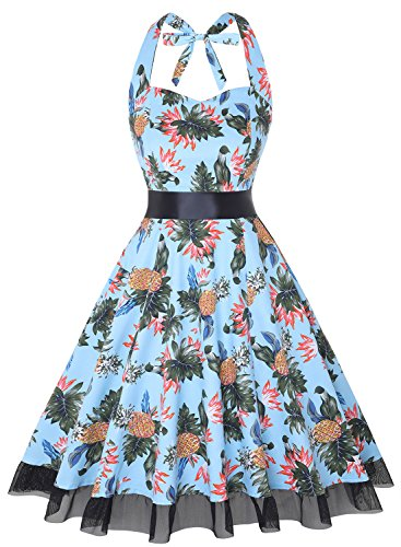 Halter Petticoat - OTEN Women's Vintage Polka Dot Halter Dress 1950s Floral Sping Retro Rockabilly Cocktail Swing Tea Dresses
