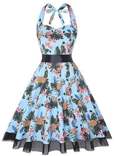 (OTEN Women's Vintage Polka Dot Halter Dress 1950s Floral Sping Retro Rockabilly Cocktail Swing Tea Dresses)