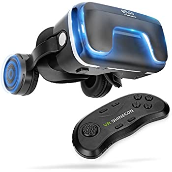 "3D Virtual Reality Headset with Remote Controller for 3D Movies and Games - VR Headset with Stereo Headphones and Adjustable Straps between 4.7 - 6 "" Smartphones"