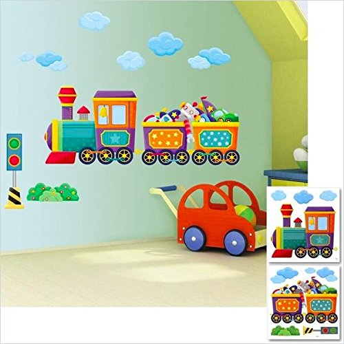 Steam Train Wall Stickers, Childrens, Boys Bedroom Wall Stickers,  Individual 2 X Sheets