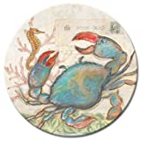 CounterArt Lazy Susan Glass Serving Plate, Seaside and Blue Crab