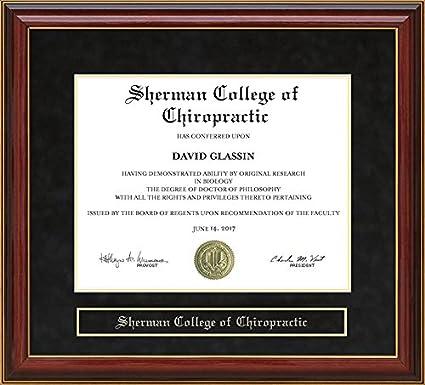 Amazon.com - Sherman College of Chiropractic Diploma Frame - Mahogany -