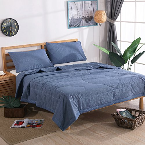 NTCOCO 3 piece Comforter Set Thin quilt lightweight comforter Blanket 100% Washed Cotton Perfect For Summer machine washable Can sleep naked (Navy Blue, KING)
