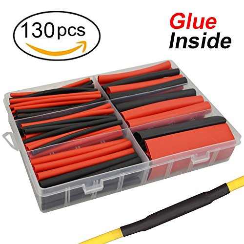 130 pcs 3:1 Dual Wall Adhesive Heat Shrink Tubing kit, 6 Sizes(DIA): 1/2