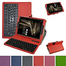 """Asus ZenPad 3S 10 Bluetooth Keyboard Case,Mama Mouth Slim Stand PU Leather Cover With Romovable Bluetooth Keyboard For 9.7"""" Asus ZenPad 3S 10 9.7 Z500M Let Andriod Tablet,Red"""