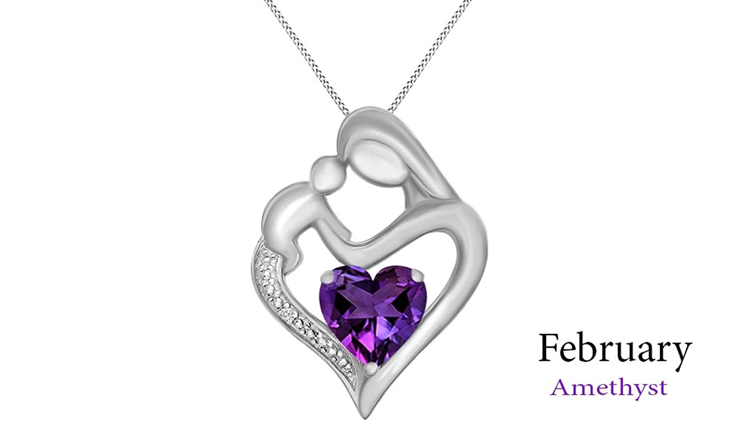 Amethyst the February Birthstone, White Natural Diamond Accent - Mother & Child Heart Pendant in 14k White Gold Over Sterling Silver