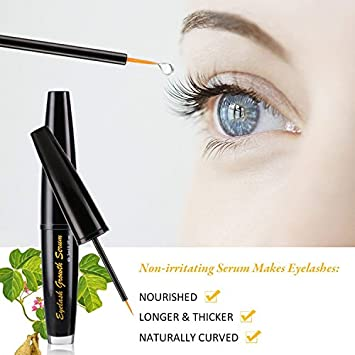 Eyelash Enhancer for Longer Fuller Thicker Looking Lashes Brows, 100 Natural Extract Booster Serum 3 ml