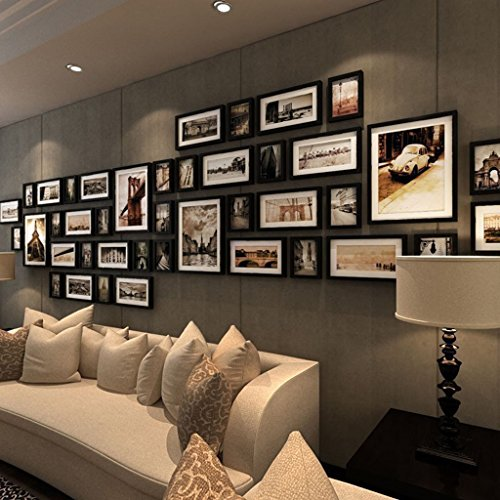 Solid Wood Photo Wall Living Room Creative European Photo Large-size Photo Frame Wall Combination Of Cultural Wall ( Color : A ) by AI XIN SHOP
