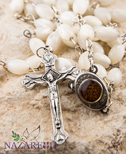 Mens Mother Of Pearl (Mother of Pearl Beads Rosary Cross with Mary Medal and Holy Soil From Holy)