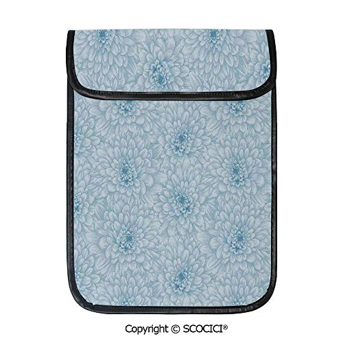 SCOCICI Shockproof Tablet Sleeve Compatible 12.9 Inch iPad Pro Retro Monochrome Pastel Water Cane Petals Pattern with Disc Florets Print Tablet Protective Bag