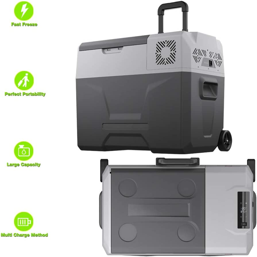 TechClic Portable Cooler Freezer/Refrigerator Cooler AC/DC Compressor Electric Cooler Trolley Wheels for Truck RV Boat Party Travel Picnic Outdoor Camping
