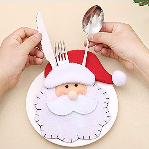 Hot Sale!DEESEE(TM) Christmas Decorative Tableware Santa Claus Fork Set Tableware Storage Tool