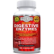 Digestive Enzymes 180 Vegetarian Capsules Plus Probiotics Supplement for Men & Women - Natural Support for Better Digestion & Absorption - Bloating, Constipation & Gas Relief + Helps IBS & Weight Loss
