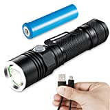 Akale LED Flashlight Rechargeable, LED Handheld Flashlight Water-Resistant, (for Camping and Hiking) with Super Bright CREE LED, 4 Light Modes, 18650 Battery Included