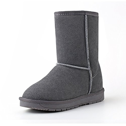 Women 's autumn and winter snow boots leather boots flat shoes casual cotton shoes ( Color : Gray , Size : US:5.5\UK:4.5\EUR:36 )