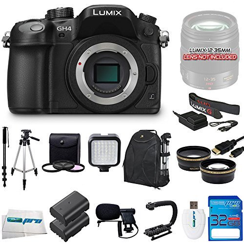 Panasonic LUMIX DMC-GH4 16.05MP Digital Single Lens Mirrorless Camera with 4K Cinematic Video (Body Only) + Videographer's Essentials Kit (Bundle Lumix Gh4)