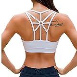 Womens Padded Sports Bra Cross Back High Impact Strappy Workout Running Yoga Bra