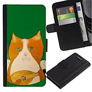 KingStore / Leather Etui en cuir / Sony Xperia Z1 Compact D5503 / Instrumento Mandolina que juega el Verde