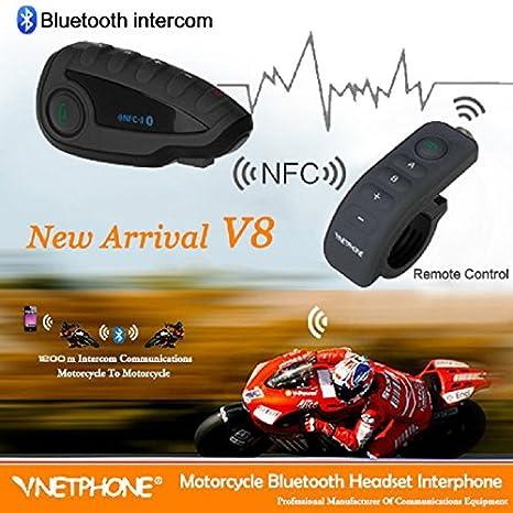 1200/m radio FM 5/motociclisti funzione vivavoce NFC Set interfono con Auricolari Bluetooth per Casco comandi al Manubrio