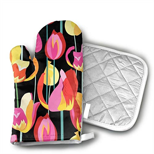 Multi Colored Beautiful (InsulatedMitt59 Beautiful Multi-Colored Tulips Oven Mitt 9 X 4 and Pot Holder 6 X 6 Kitchen Gift Set,Kitchen Oven Gloves for Cooking,Baking,Grilling,Barbecue Potholders - 2 Pair)