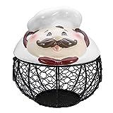 Eggs Iron Basket Metal Wire Brown Hen Egg Holder Stand Kitchen Storage Nest Basket Food Storage Container Home Decor Kangsanli (Chef)