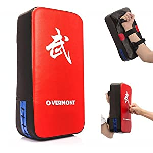 Overmont Taekwondo Kick Pads Boxing Karate Pad PU Leather Muay Thai MMA Martial Art Kickboxing Punch Mitts Punching Bag Kicking Shield Training