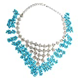 Sterling Silver 16 Inch Dangle Turquoise Beads Bib Necklace