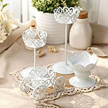 Cupcake Stand, Botitu® 4pcs Mini White Cake Stand Set with Premium Steel Material Cake Holder, Perfect for Birthday, Baby Shower, Christmas and Wedding Cake Stands