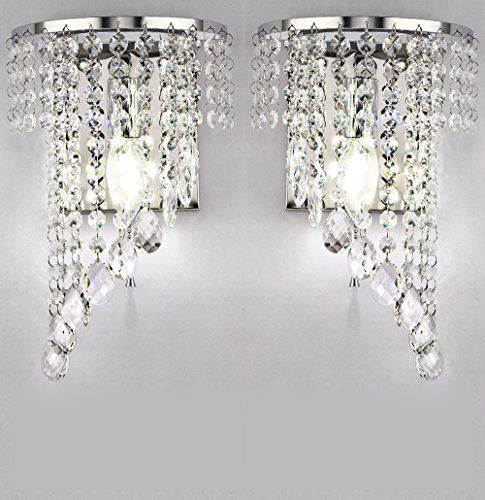 Wall Sconce Crystal Chandelier - WEERUN A Pair Left & Right 2Pcs E12 Modern K9 Crystal Mirror Stainless Steel Wall Lights Wall Lamps Sconce Night Light Lamps Fixtures Lights With Switch For Hallway Bedside Living Room (Chrome)