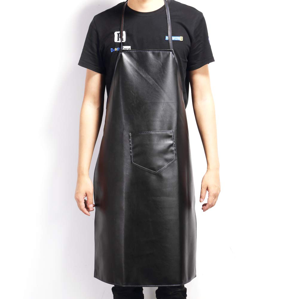 Obeda 防水PVCエプロン ポケット付き 男女兼用 調節可能な防水&汚れにくい 高耐久 ブラック ビブ グルーミング/食器洗い/料理/シェフ/ウェイター/ウェイトレス/肉切りに   B07FN95GMW