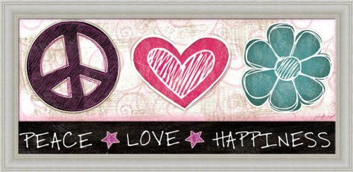 Peace Love Happiness Contemporary Girls Room Décor 20x10 ...