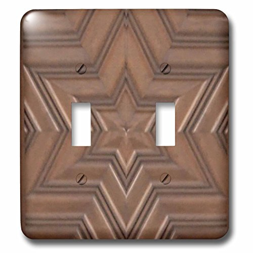 3dRose lsp_155683_2 Magen David Stars - Photo Print Of Wood Carving - Brown Wooden Jew Symbol - Judaism - Jewish Gifts - Double Toggle Switch -