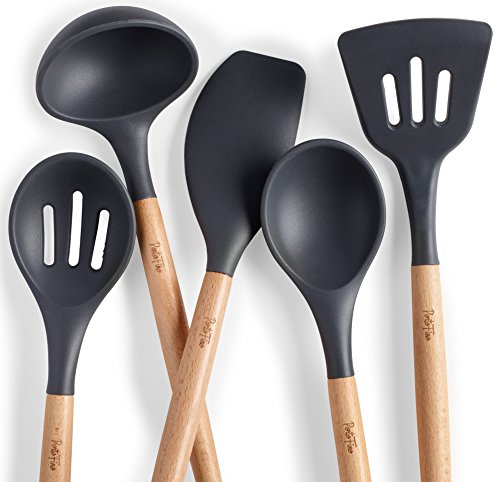 PortoFino 5 Pc. Kitchen Utensil Set / Premium Natural Beech Wood & Silicone / Home Cooking Utensils / Wooden Food Prep Tools / Soup Ladle, Slotted Spoon, Solid Spoon, Turner, Large Spatula (Large Solid Spoon)
