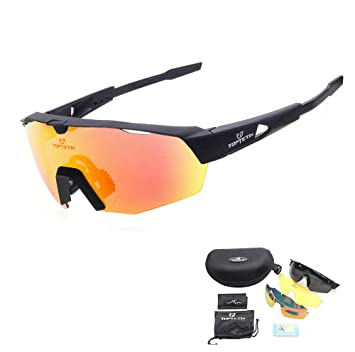 TOPTETN Polarized Sports Sunglasses with Interchangeable Lenes for Men Women Cycling Running Driving Fishing Golf Baseball Glasses