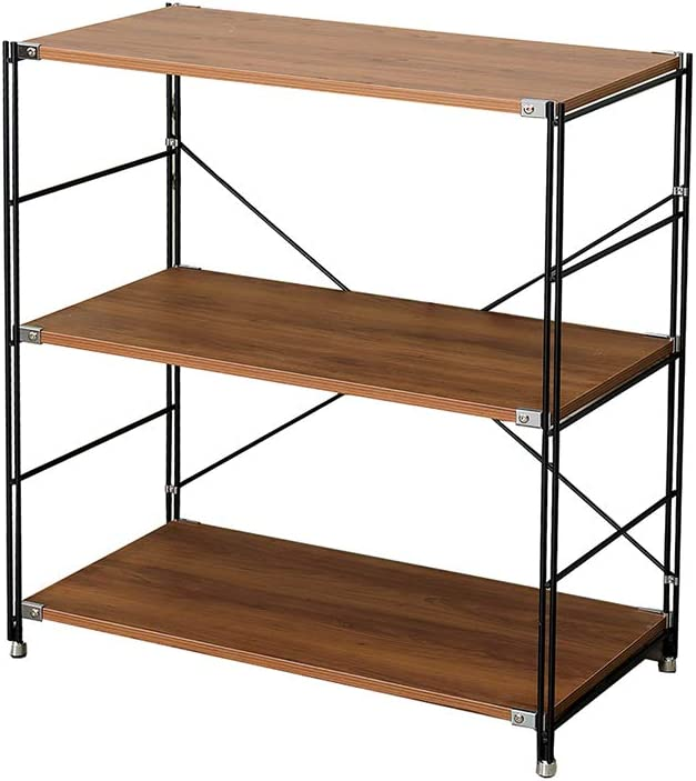Lexsjan Metal Bookshelf Ladder File Industrial Large Open Shelves Furniture for Home Office Free Combination (Walnut)