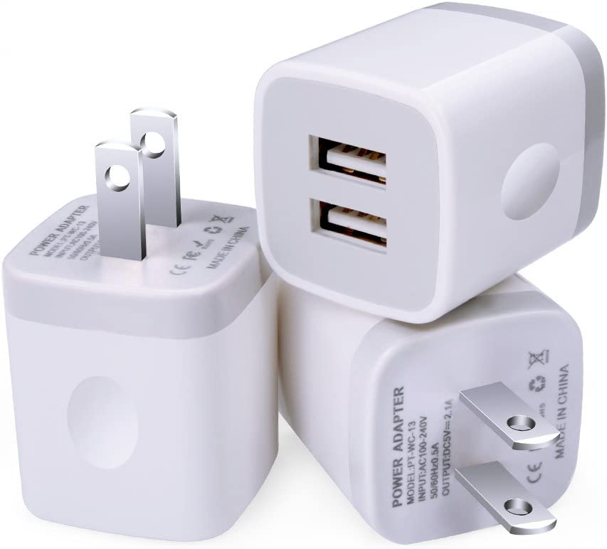 Charging Block, Sixsim 3Pack 2.1A 2-Port USB Wall Charger Power Adapter Charging Plug Charger Cube Brick Compatible iPhone 11 XS XR X 8 7 Plus, iPad, Samsung Galaxy S20 S10e S9 S8 S7 A71 M31, LG, HTC
