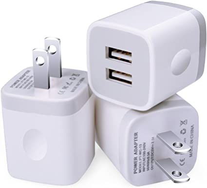 Charging Plug More Phones LG iPad Sony Android HTC Samsung Galaxy S9 S8 S7 Sixsim 3 Pack 2.1A//5V Charging Block Phone Charger Box Double USB Wall Charger Compatible iPhone XS MAX X 8 7 6 Plus
