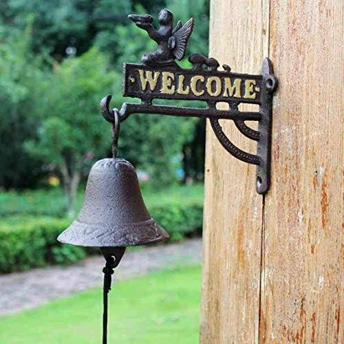 風鈴錬鉄花妖精ドアベルヴィンテージ鋳鉄ウェルカムドアベルカフェバーの装飾22.5x11.4x22cm鋳鉄ドアベル