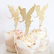 Astra Gourmet 10pcs Cake Inserted Card Angel Fairy Cake Topper/ Glitter Paper Pick Party Favor/ Wedding Birthday Cake Decor