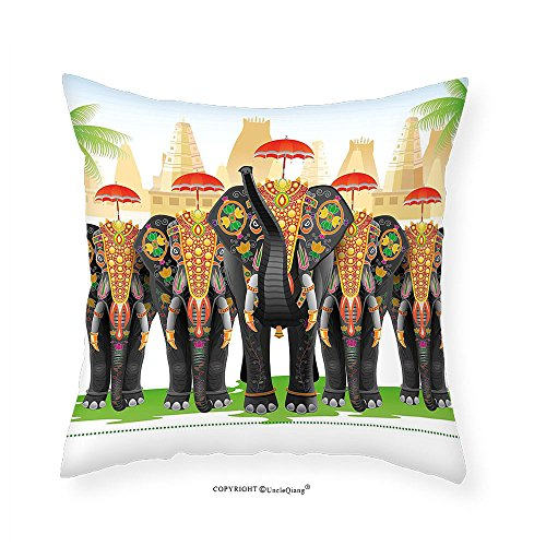 VROSELV Custom Cotton Linen Pillowcase Ethnic Elephants in Traditional Costumes with Umbrellas Ethnic Ceremony Ritual Graphic for Bedroom Living Room Dorm Multicolor 18
