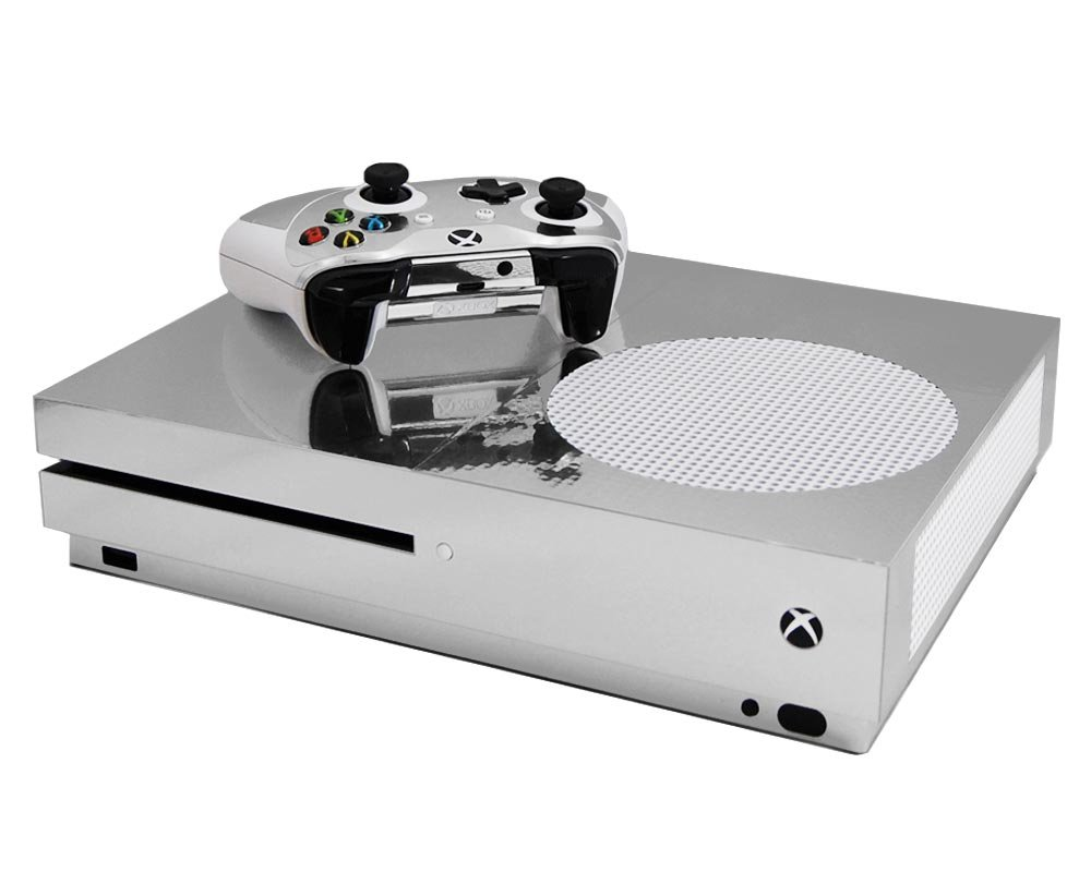 Silver Chrome Mirror Vinyl Decal Mod Kit for MicroSoft Xbox One Slim (XB1S) Console by System Skins