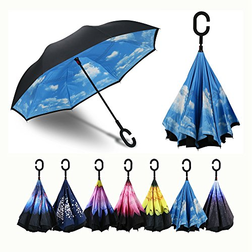 Procella Inverted Umbrella, Large Windproof Double Layer Canopy, Big Straight Reverse Inside Umbrellas for Car, Rain, Sun and Outdoor Use, Hands-Free C-Shape Handle, UV Protection (Flowers That Open And Close With The Sun)