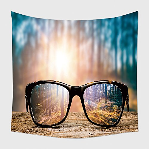 Home Decor Tapestry Wall Hanging Glasses Focus Background Wooden Eye Vision Lens Eyeglasses Nature Reflection Look Looking Through for Bedroom Living Room - Eyeglasses Delaware