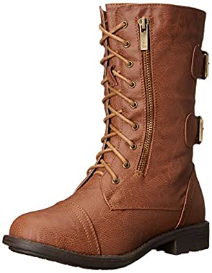 Top Moda Pack-72 Women's Back Buckle Lace Up Combat Boots Tan 6