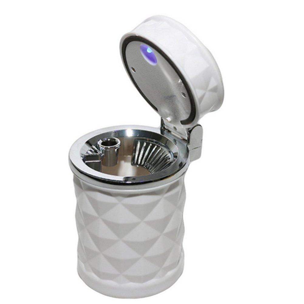 Qifumaer 1 St/ück kreativer Auto-M/ülleimer Klappe Auto M/ülleimer LED Lichter Aschenbecher M/üllkorb Wasserdicht 11,6 x 6,7 cm