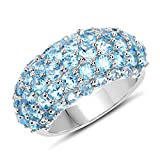 Cluster Wedding Ring 4.11 ct Genuine Blue Topaz Round Cut 925 Sterling Silver