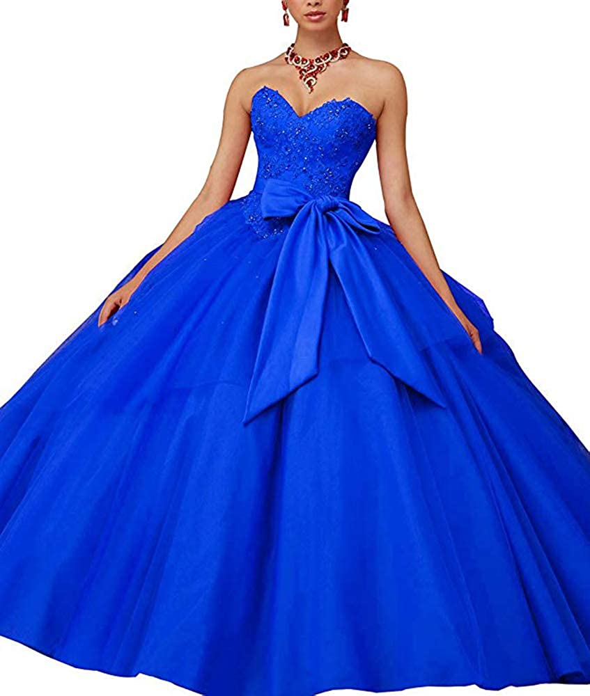Royal bluee XSWPL Gorgeous Beaded Quinceanera Dresses with Bow Ball Gowns Sweet 16 Prom Dresses