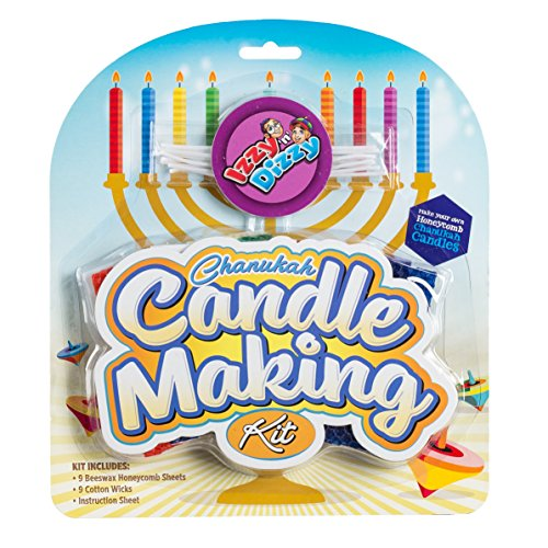 Izzy n Dizzy Chanukah Candle Making Kit - Includes 9 Beeswax Honeycomb Sheets, 9 Cotton Wicks, Instructions - Hanukah Arts and Crafts - Gifts and Games