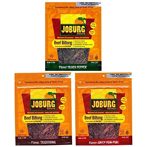 Joburg - Gourmet Beef Biltong South African Jerky - Glatt - Kosher (OU) - Variety (6 pack) (2 oz each)